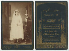 CAB PHOTO YOUNG LADY 1ST COMMUNION/CONFIRMATION PORTRAIT W/ CANDLE   BIBLE