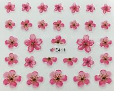 Nail Art 3D Decal Stickers Pretty Pink Flowers E411