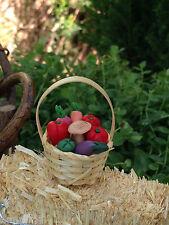 Miniature Dollhouse FAIRY GARDEN ~ Straw Basket with Vegetables ~ NEW