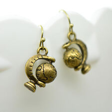 Spinning Globe Earrings, Antique Bronze Finish Vintage Style Charm Pendant Earth