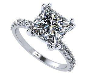 Princess Cut Solitaire Engagement Ring made w/ Swarovski Zirconia