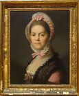 18th Century French Mater Lady Wearing a Bonnet Portrait Antique Oil Painting