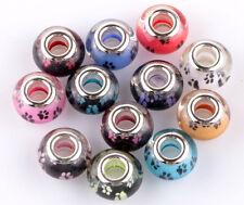 50pcs Mix Feet SILVER MURANO bead LAMPWORK fit European Charm Bracelet AB909