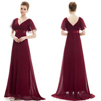 Ever-Pretty Burgundy Bridesmaid Dress Chiffon Maxi Party Dresses A Line 09890
