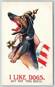 Bernhardt Wall WWI Patriotic~Uncle Sam Squeezes German Dachshund~Like Dogs~Not