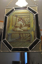 ANCIEN VITRAIL A SUSPENDRE-ANCIEN MÉTIER - OLD STAINED-GLASS WINDOW - 34/28 CM