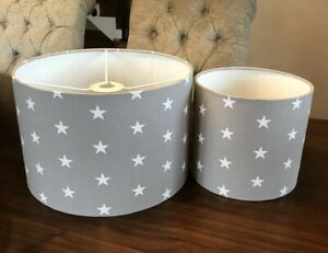 Grey and White Stars Lampshade Pair One Lamp And One Ceiling Shade
