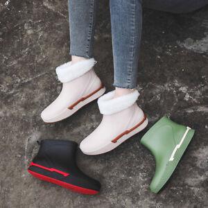 Womens Warm Fur Lined Waterproof Wellington Wellies Shoes Garden Rain Snow Boots