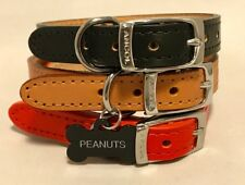 NEW ANCOL heritage real LEATHER DOG COLLAR with ENGRAVED Bone ID TAG