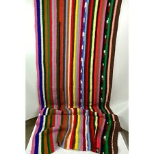 "Vintage Crochet Multicolored Stripe Handmade Blanket Afghan 96""x32"""