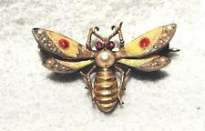 Antique Art Nouveau 14K Bee Pin ~ Enamel, Rubies and Pearls