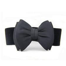 UK Women Fashion Elastic Wide Bowknot Bow Stretch Buckle Waistband Waist Belt
