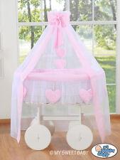 My Sweet Baby - Deluxe White Drape Heart Wicker Crib - Pink
