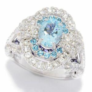 Meher's Jewelry 4.40ct Aquamarine & Mult Gemstone Ring Size 5, 6, 8 & 9