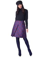 JIL SANDER NAVY Wrap Skirt Size 40 / L Chevron Pattern Made in Italy RRP €515