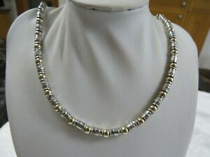 """HEAVY ITALIAN STERLING SILVER TUBE AND GOLD BEAD NECKLACE 28GRAMS 17"""" VERY GC"""
