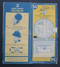 Carte MICHELIN old map n°54 CHERBOURG ROUEN 1950 Guide Bibendum pneu tyre
