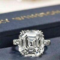 3.60Ct White Asscher Cut Diamond 14k White Gold Engagement Wedding 3 Stone Ring