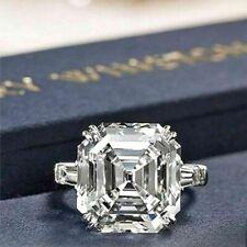 3.40Ct Certified White Asscher Cut Diamond Prong 14k White Gold Engagement Ring