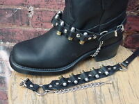 BIKER BOOTS BOOT CHAINS BLACK TOPGRAIN COWHIDE LEATHER WITH REAL 9MM BULLETS NEW