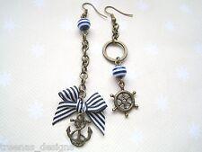 *MISMATCH NAUTICAL BLUE STRIPE BOW ANCHOR WHEEL* Long Chain Drop Bronze Earrings
