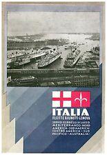 PUBBLICITA'1933 ITALIA FLOTTE RIUNITE PORTO GENOVA TRANSATLANTICO NAVE AUSTRALIA