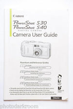 Canon S30 Powershot Digital Camera Instruction Manual Book - English - USED AC
