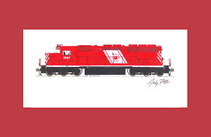 """Central Railroad of New Jersey SD40 11""""x17"""" Matted Print Andy Fletcher signed"""