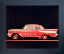 Classic Chevy Bel Air 1957 Vintage Car Wall Decor Espresso Framed Picture 20x24
