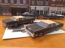 Papercraft 1979 Lincoln Towncar Sedan Brown color EZU-make Paper Model Car