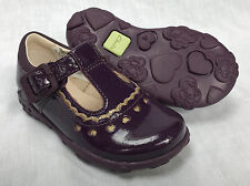 BNIB Clarks Girls Ella Alice Purple Patent Leather Lights First Shoes F/G Fittin