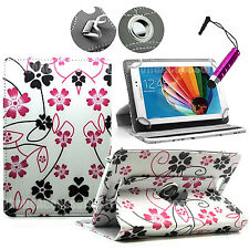 """For 8"""" 8..1 Android Tablet Tabs-360° Universal Designer Leather Case Folio Cover"""