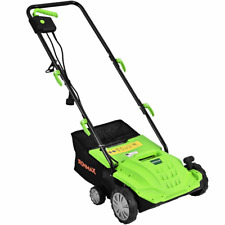"12Amp Corded Scarifier 13"" Lawnmower Electric Lawn Dethatcher W/40L Bag Outdoor"