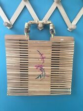 Vintage Bamboo Wooden Slat Purse With Hand Painted Flowers & Bamboo Handles NWT