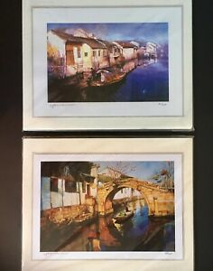 2 Signed & Numbered Art Prints 27cm x 20cm by  Yao Wenkui, Canal/River/Water