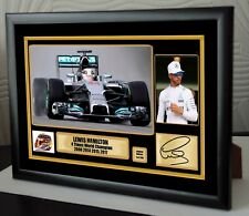 Lewis Hamilton F1 Mercedes 4 Times World Champion Framed Canvas Print Signed #2