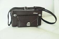 NIKON FB-17 VINTAGE Marron Foncé Camera Bag Case W/ Shoulder Strap