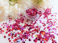 Arte en uñas Grueso ama * sueños * Rosa Rojo hexágonos Corazones Brillo Spangle Pote De Punta