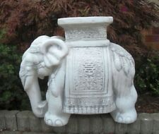 Gartenfiguren, Elefant, Sockel, Steinguss, 44 cm Skulpturen, Gartendekoration