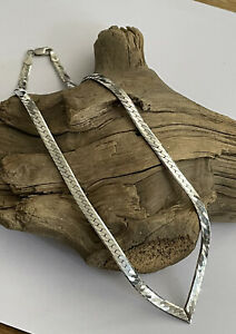 Vintage Solid 925 Silver Herringbone V Shaped Necklace Chain 16 Inch 17 Gram