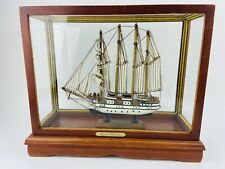 Model Ship Boat In Case J.S. Elcano Shane Martin Wooden Sails Vintage