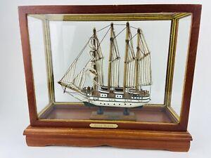 Model Ship Boat In Case J.S. Elcano Shane Martin Wooden Sails Vintage