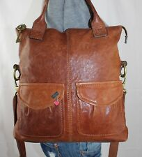 FOSSIL LONG LIVE Large Brown Leather Shoulder Hobo Satchel Crossbody Purse Bag