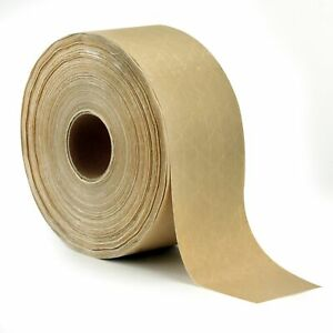 Reinforced Gummed Kraft Paper Packing Tape, 2.75 Inches x 375 Feet   Water Activ