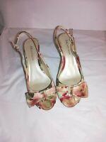 Anne Klein Floral Peep Toe Fabric Ankle Strap Kitten Heels W/ flower bow Size 8M