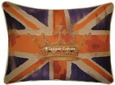 Union Jack Purple Flag Design #2 Oblong Woven Tapestry Cushion Cover