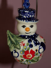 Polish Pottery Snowman with Tree  Ornament! UNIKAT Signature Exclusive Zoey!