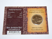 "2008 $1 coin ""100yrs of Australias Coat of Arms""  Canberra mint mark UNC on card"