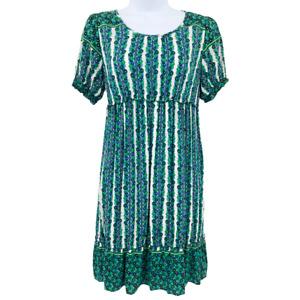 Women's Small Green Pullover Unlined Empire Waist Thursday Island Boho Dress