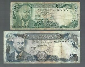 Afghanistan ✨ 50 & 500  Afghanis 2 banknotes ✨ Collection & lots #2753